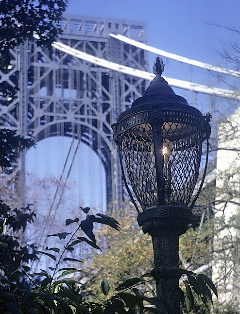 12.007 9-00-69 New York City, George Washinbgton Bridge and lamp ...