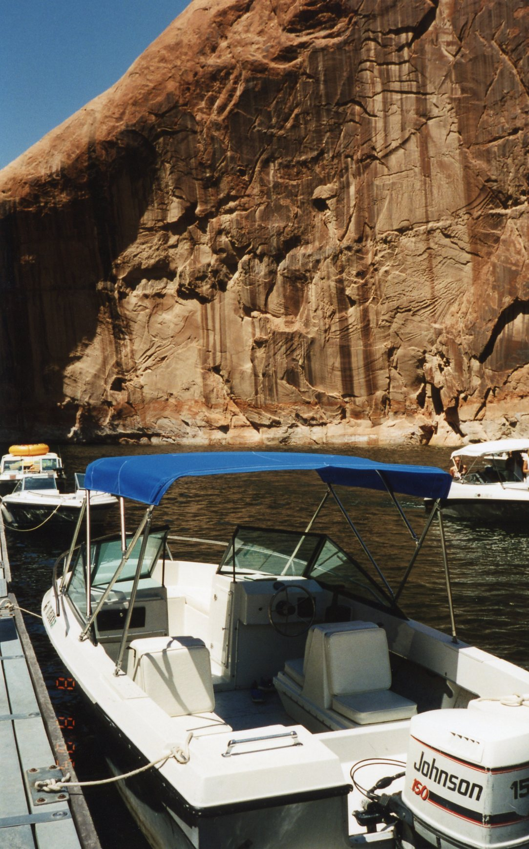 1995.08.08      094  S.W. Vac. Lake Powell, Utah, Boat at Rainbow Bridge Dock and marina